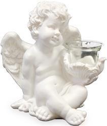 Świecznik Anioł Trzymający Świeczkę Biały 19x19 cm