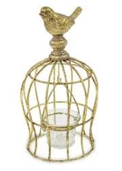 Świecznik złoty metalowy H: 22 cm