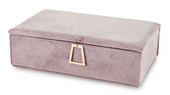 Szkatuka Na Biżuterię różowy aksamit kuferek