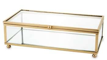 Szkatułka na biżuterię metalowa złota H: 6 cm
