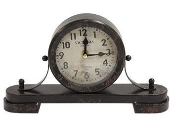 Zegar kominkowy ozdobny metal czarny