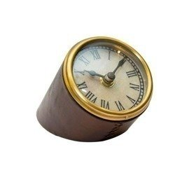 Zegar stojący na biurko w oprawie skórzanej H:12cm