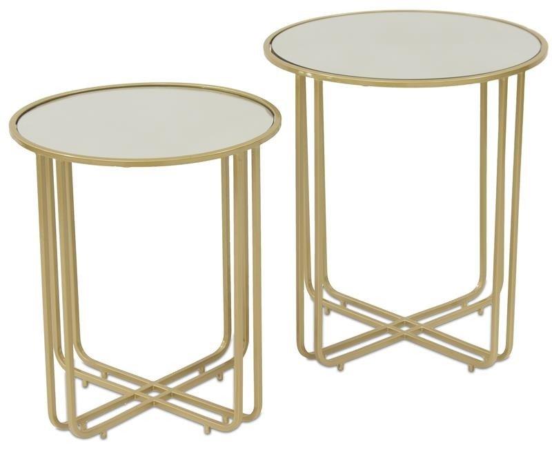 ława Stolik Kawowy Stół Metal Złoty 2 Szt