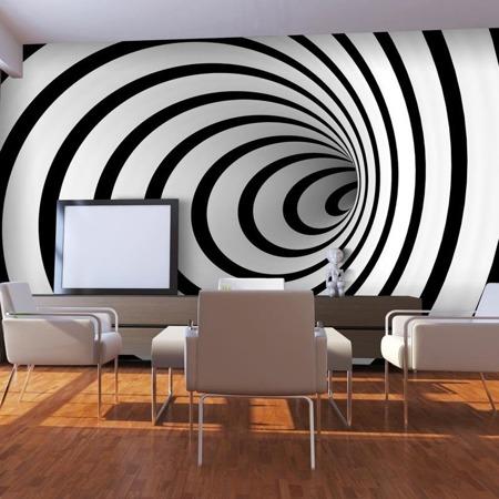Fototapeta - Czarno-biały tunel 3D