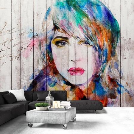 Fototapeta - Portret na drewnie
