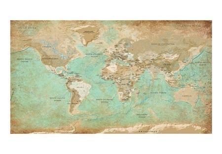 Fototapeta XXL - Turkusowa mapa świata II