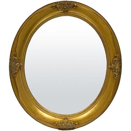Stylowa Rama lustro złoto owalne