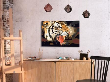 Obraz do samodzielnego malowania - Ryczący tygrys