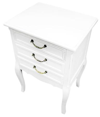 Szafka stylowa półka nocna drewno biały zdobiony